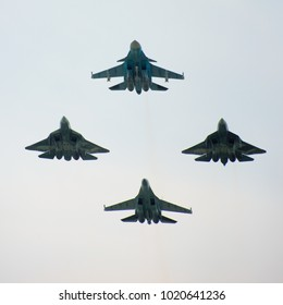 ZHUKOVSKY/RUSSIA, JULY 21, 2017; MAKS-2017 AIRSHOW; Two Sukhoi's Su-57 Firedrake, Sukhoi Su-34 Fullback and   Sukhoi Su-35 Flanker-E+ during the demonstration flight.