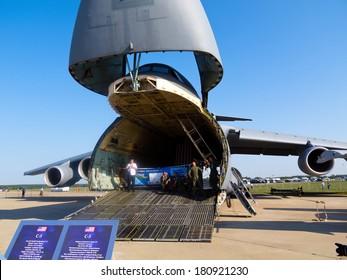 ZHUKOWSKY - AUGUST 16: Lockheed C-5 Galaxy nose raised for loading. Military intercontinental cargo strategic aircraft at International Aviation & Space Salon in Moscow MAKS, August 16 2011, Russia.