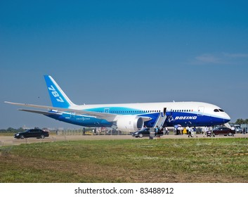 ZHUKOWSKY, RUSSIA - AUGUST 16: Boeing 787 Dreamliner at International Aviation & Space Salon in Moscow, August 16 2011, Russia