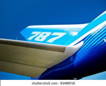 ZHUKOWSKY, RUSSIA - AUGUST 16: Tail and wing of 787 Boeing Dreamliner at International Aviation & Space Salon in Moscow MAKS, August 16 2011, Russia