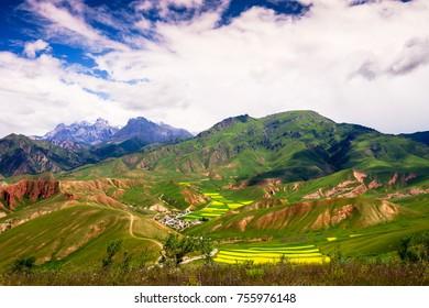 Zhuoer Mountain of Spring  in Qinghai China