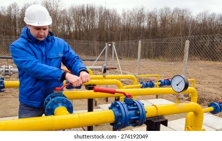 ZHYDACHIV, UKRAINE - APRIL 15: Worker employs equipment of the natural gas field station near western ukrainian city Zhydachiv, Ukraine on April 15, 2015
