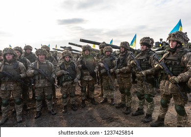 ZHYTOMYR Reg, UKRAINE - Nov. 21, 2018: Combat training at the training center of the airborne troops of the Ukrainian Armed Forces in Zhytomyr region