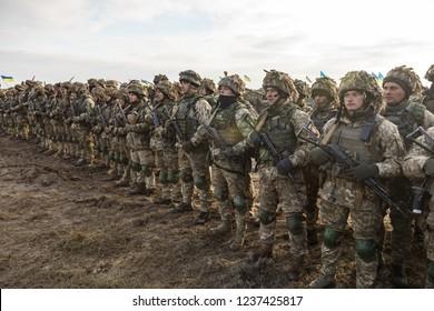 ZHYTOMYR Reg, UKRAINE - Nov. 21, 2018: Combat training at the training center of the airborne troops of the Ukrainian Armed Forces in Zhytomyr region
