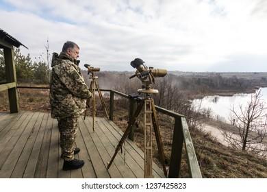 ZHYTOMYR Reg, UKRAINE - Nov. 21, 2018: President Poroshenko visited training center of the airborne troops of AFU in Zhytomyr region and congratulated the military on the Day of the Airborne Troops
