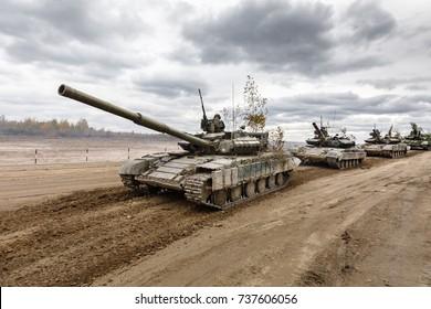 ZHYTOMYR Reg, UKRAINE - Oct. 14, 2017: Column of tanks. Combat training of the Armed Forces of Ukraine in the training center of Zhytomyr region.