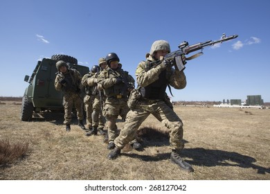 ZHYTOMYR REGION, UKRAINE - APRIL, 9, 2015: Mobilized soldiers pictured as they take part in military training and exercises near Zhytomyr