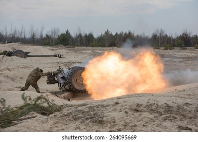 ZHYTOMYR REGION, UKRAINE - MARCH, 27, 2015: Mobilized soldiers take part in military training and combat exercises