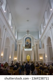Zhytomyr, Ukraine - February 24, 2019: Interior of St. Jonah from Duklya Cathedral in Zhytomyr