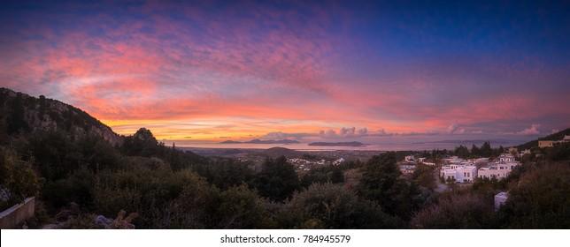 Zia Village Sunset Panorama, Kos island Greece.