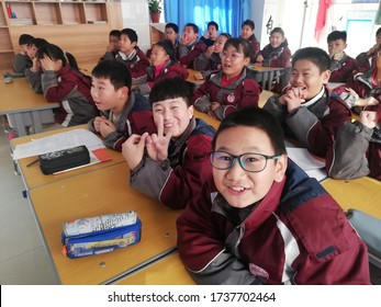 Zibo, China - December 6, 2019: Chinese Students in Class