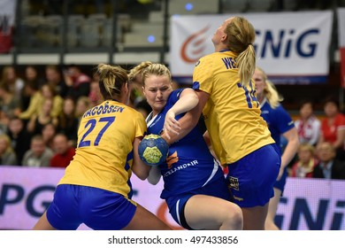 ZIELONA GORA, POLAND - DECEMBER 7, 2016: Women friendly tournament  match Island - Sweden. In action Eva Bjork Daviosdottir.