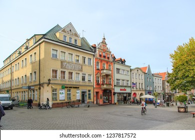ZIELONA GORA, POLAND - October 9th 2018: Old town buildings in Zielona Gora, Poland