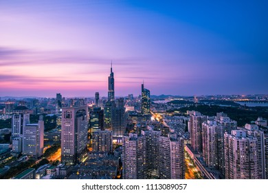 Zifeng Mansion and Nanjing Cityscape at Sunset