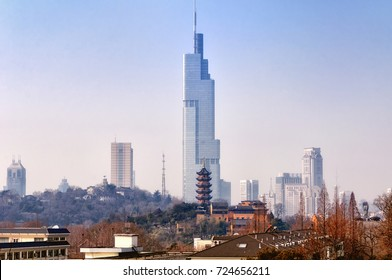 Zifeng tower, Seven storied pagoda and Jiming Temple in the city of Nanjing located in Jiangsu province China.