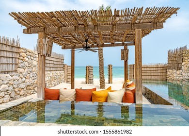 Zighy Bay, Oman - August 13, 2019: Zighy Bay Resort in Musandam, Oman.