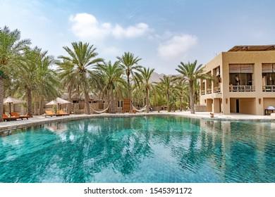 Zighy Bay, Oman - August 14, 2019: Omani Resort at Zighy Bay Resort in Musandam, Oman.