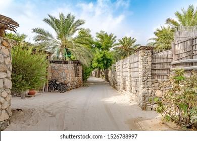 Zighy Bay, Oman - August 15, 2019: Omani Oasis at Zighy Bay in Musandam, Oman.
