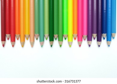 Zigzag colored pencils isolated with white background