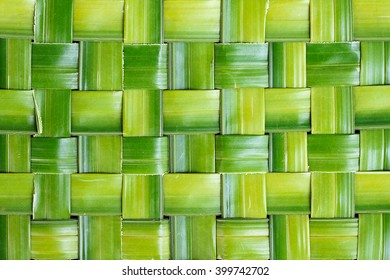Zigzag interlocking of leaf, Green leaf background abstract, Green woven Background