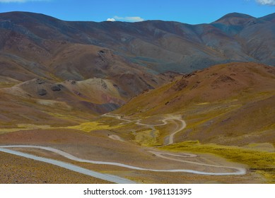 The zigzagging upper stretch of the famous Ruta 40 National Route up the Andes at Abra del Acay mountain pass, Salta Province, Argentina