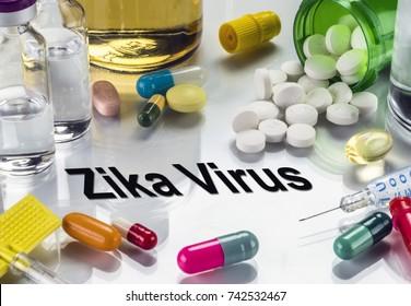 Zika Virus, medicines as concept of ordinary treatment, conceptual image