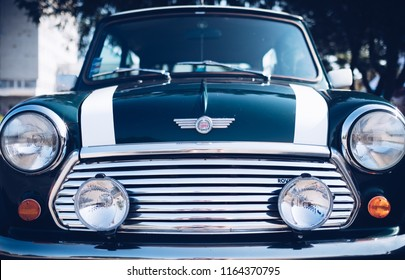 Zilina,  - Slovak Republic, August 4, 2018: A image of radiator grill and front lights elementsof the vintage Mini Cooper at Old cars exhibition in Zilina city, Slovak Republic