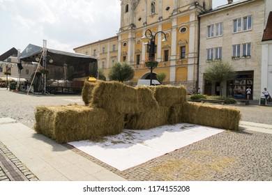 Zilina, Slovakia. 19-Jul-2018: Days of mediaeval art in Zilina. Market: Haystacks in the town. Slovakia