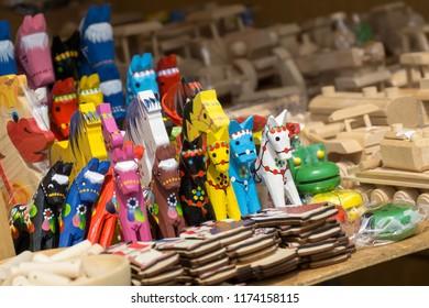 Zilina, Slovakia. 19-Jul-2018: Days of mediaeval art in Zilina. Market: Homemade toys, souveniers, candles, decorations on the market. Slovakia