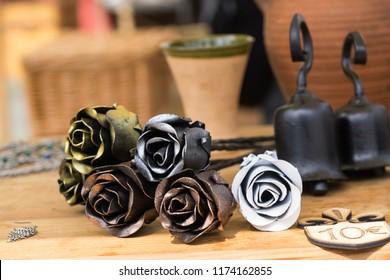 Zilina, Slovakia. 19-Jul-2018: Days of mediaeval art in Zilina. Market: Handmade metal roses. Slovakia