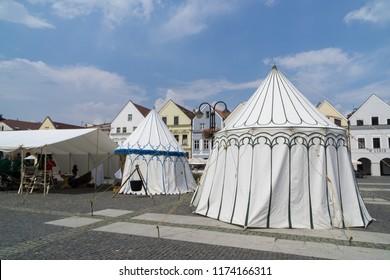 Zilina, Slovakia. 19-Jul-2018: Days of mediaeval art in Zilina. Market: Tents in the town. Slovakia