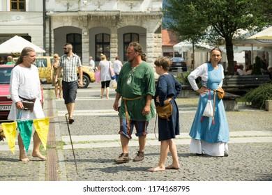 Zilina, Slovakia. 19-Jul-2018: Days of mediaeval art in Zilina. Market: People in mediaeval clothes on the street. Slovakia