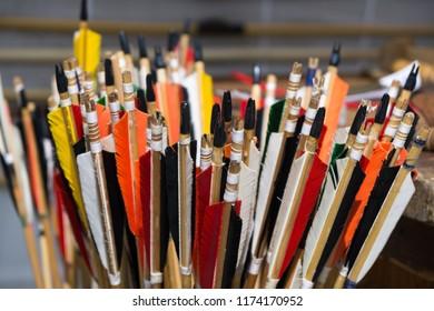 Zilina, Slovakia. 19-Jul-2018: Days of mediaeval art in Zilina. Market: Colorful arrows. Slovakia
