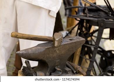 Zilina, Slovakia. 19-Jul-2018: Days of mediaeval art in Zilina. Market: Man roughing the iron. Slovakia