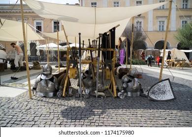 Zilina, Slovakia. 19-Jul-2018: Days of mediaeval art in Zilina. Market: Exhibition of mediaeval armor and weapons. Slovakia