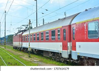 ZILINA, SLOVAKIA - AUGUST 10, 2019 - Train of Zeleznicna Spolocnost Slovensko (ZSSK) at Zilina station