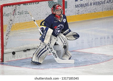 ZILINA, SLOVAKIA - FEBRUARY 16, 2019: Young goalie of Slovak ice hockey team  MSK Puchov Stefan Patak during warm-up before game against MSHKM Zilina