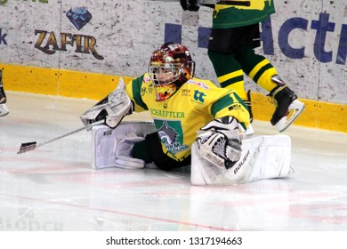 ZILINA, SLOVAKIA - FEBRUARY 16, 2019: Young goalie of MSHKM Zilina during warm-up before game against MSK Puchov