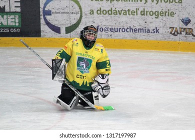 ZILINA, SLOVAKIA - FEBRUARY 16, 2019: Young goalie of Slovak ice hockey team MSHKM Zilina during warm-up before game against MSK Puchov