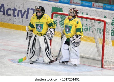 ZILINA, SLOVAKIA - FEBRUARY 16, 2019: Goalies of Slovak ice hockey team MSHKM Zilina during warm-up before game against MSK Puchov