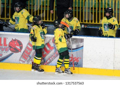 ZILINA, SLOVAKIA - FEBRUARY 16, 2019:  Hockey match of 1st Slovakian league of junior 5th grade pupils between MSHKM Zilina and MSK Puchov