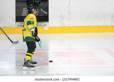 ZILINA, SLOVAKIA - FEBRUARY 16, 2019: Young hockey player of MSHKM Zilina with puck during warm up before league match against  MSK Puchov. MSHKM Zilina won this game 15-0.