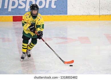 ZILINA, SLOVAKIA - FEBRUARY 16, 2019: Young hockey player of MSHKM Zilina during warm up before league match against  MSK Puchov. MSHKM Zilina won this game 15-0.