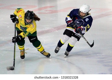 ZILINA, SLOVAKIA - FEBRUARY 16, 2019: Young hockey player of MSHKM Zilina Nela Lopusanova on the puck during league match against  MSK Puchov. MSHKM Zilina won this game 15-0.