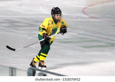 ZILINA, SLOVAKIA - FEBRUARY 16, 2019:  Portrait of young hockey player of MSHKM Zilina during league match against  MSK Puchov. MSHKM Zilina won this game 15-0.