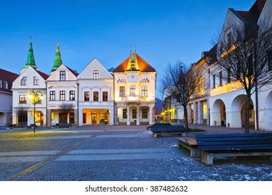 Zilina, Slovakia - January 17, 2016: Main square in the city of Zilina in central Slovakia.