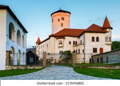 Zilina, Slovakia - July 25, 2018: Budatin medieval castle in north-western Slovakia, near the city of Zilina,  at the confluence of Kysuca and Vah rivers.