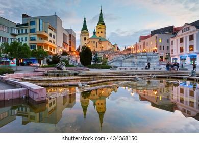 Zilina, Slovakia - June 03, 2016: Main square in the city of Zilina in central Slovakia.