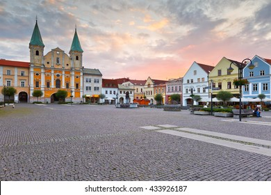 Zilina, Slovakia - June 06, 2016: Town hall in the main square of Zilina in central Slovakia.