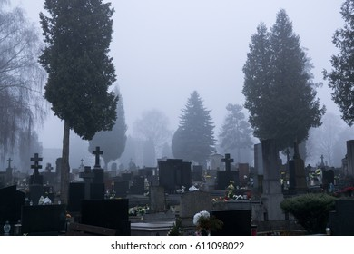 ZILINA, SLOVAKIA - MAR 16, 2017: Old cemetery (Stary cintorin) is a historical cemetery in Zilina city. The cemetery was founded in 1707. Graves with crosses and trees